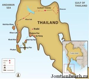 карта юг тайланда